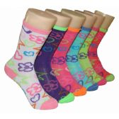 480 Units of Girls Flowers and Hearts Crew Socks