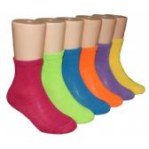 480 Units of Girls Solid Color Crew Socks