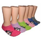 480 Units of Girls Penguin Print Low Cut Ankle Socks