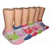 480 Units of Girls Owl Print Low Cut Ankle Socks