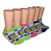 480 Units of Girls Happy Owl Low Cut Ankle Socks