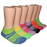 480 Units of Girls Color Stripes Low Cut Ankle Socks