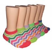 480 Units of Girls Rainbow Chevron Low Cut Ankle Socks