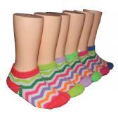 480 Units of Girls Rainbow Chevron Low Cut Ankle Socks