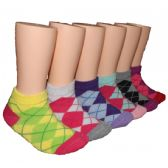 480 Units of Girls Argyle Low Cut Ankle Socks