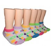 480 Units of Girls Circle Pattern Low Cut Ankle Socks