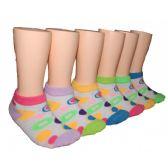 480 Units of Girls Circle Pattern Low Cut Ankle Socks