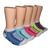 480 Units of Girls Sneaker Print Low Cut Ankle Socks
