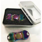12 Units of Rainbow Alloy Zinc Metali Bean Shaped Fidget Spinners