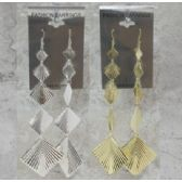 36 Units of Gold tone or silver tone French hook earrings with embossed disc and square dangle - Earrings