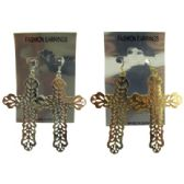 36 Units of Silver and gold tone French hook dangle earrings in a cross dangle accent - Earrings