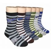 480 Units of Boys Dino Stripes Crew Socks