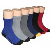 480 Units of Boys Solid Color Crew Socks With Stripe Design Bottom