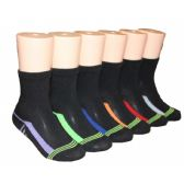480 Units of Boys Solid Black Color Crew Socks With Color Stripe Bottom