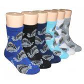 480 Units of Boys Shark Print Crew Socks