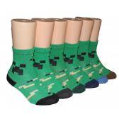 480 Units of Boys Retro Graphic Print Crew Socks