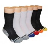 480 Units of Boys Black and White Crew Socks With Stripe Toe