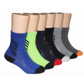 480 Units of Boys Solid Crew Socks With Stripe Ankle