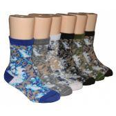 480 Units of Boys Assorted Camo Crew Socks