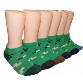 480 Units of Boys Green Prints Low Cut Ankle Socks - Boys Ankle Sock