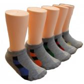 480 Units of Boys Gray Low Cut Ankle Socks With Accent Color - Boys Ankle Sock
