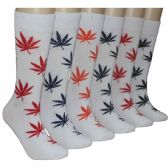 288 Units of Men's Colorful Marijuana Leaf Crew Socks