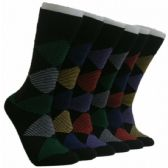 288 Units of Men's Striped Design Crew Socks