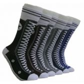 288 Units of Men's Sneaker Print Crew Socks