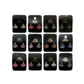 36 Units of Crown shaped stud earrings accented with rhinestones - Earrings