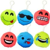 144 Units of PLUSH COLORFUL EMOJI ZIPPER PULL KEYCHAINS.
