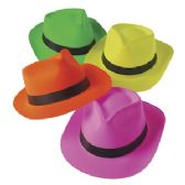 144 Units of NEON COLORED FEDORA HAT