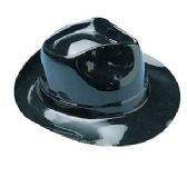 144 Units of BLACK PLASTIC FEDORA HATS. - Costumes & Accessories