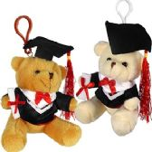60 Units of PLUSH GRADUATION BEAR ZIPPER PULL KEYCHAINS