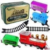 12 Units of 16 PIECE TOY TRAINS IN TINS.