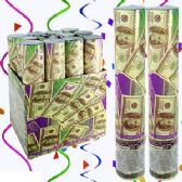 36 Units of 11.5 INCH DOLLAR BILL CONFETTI PARTY POPPERS.