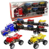 12 Units of 7 PIECE FRICTION POWERED SEMI W/ ATVs.