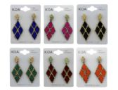36 Units of Dangle earrings with diamond shaped charm with an X design - Earrings