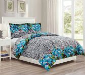 12 Units of 3 Pieces Mini Set In FULL/QUEEN - Teal Leopard Design - Comforters & Bed Sets