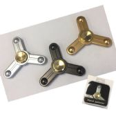 20 Units of Fidget Spinner [Metal Triple Prong] Black/Gold/Silver