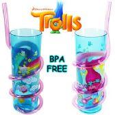24 Units of DREAMWORKS TROLLS ACRYLIC SILLY STRAW TUMBLERS. - Plastic Drinkware
