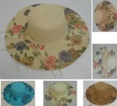 "24 Units of Ladies Woven Summer Hat [5"" Printed Floral Brim]"