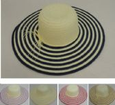 "24 Units of Ladies Woven Summer Hat [5"" Striped Brim]"