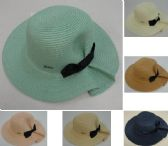 24 Units of Ladies Woven Summer Hat [Puckered Back w Bow]