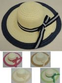 36 Units of Ladies Woven Summer Hat [Striped Bow/Colored Trim]