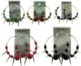 36 Units of Gold and silvertone hoops with assorted colored accent balls and spike dangles - Earrings