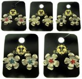 36 Units of Crystal accented flower shaped post earrings - Earrings