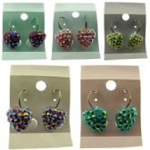 36 Units of Silvertone french hook earrings with assorted colored embossed hearts - Earrings