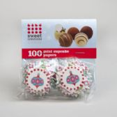144 Units of Cupcake Baking Paper 100ct Mini Holiday - Baking Items
