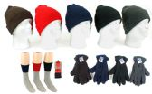 180 Units of Adult Knit Cuffed Hat, Men's Fleece Gloves, & Men's Thermal Socks Combo - Winter Sets Scarves , Hats & Gloves
