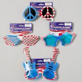 48 Units of Patriotic Glasses 4asst Peace/guitar/star/screened Patriotic Barbell Card